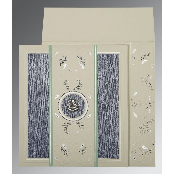 FOSSIL GREY MATTE EMBOSSED WEDDING CARD : IN-1261 - 123WeddingCards