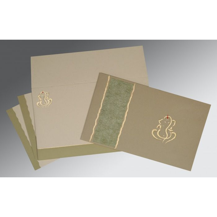 KHAKI MATTE EMBOSSED WEDDING CARD : CW-2117 - IndianWeddingCards