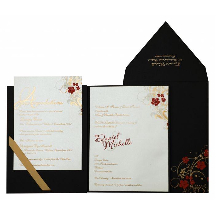 BLACK MATTE FLORAL THEMED - FOIL STAMPED WEDDING INVITATION : CI-836 - IndianWeddingCards