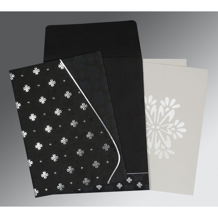 BLACK MATTE FLORAL THEMED - FOIL STAMPED WEDDING INVITATION : CW-8237H - IndianWeddingCards