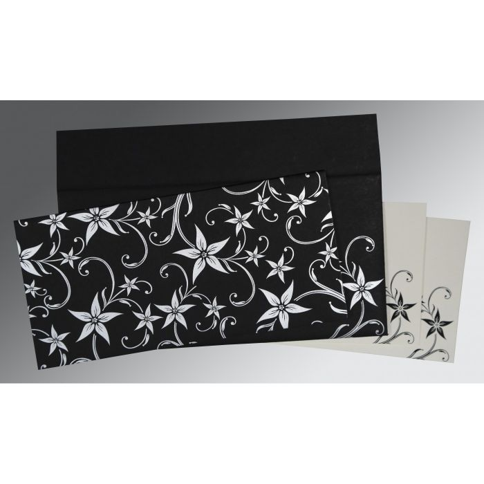 BLACK MATTE FLORAL THEMED - SCREEN PRINTED WEDDING INVITATION : C-8225A - 123WeddingCards