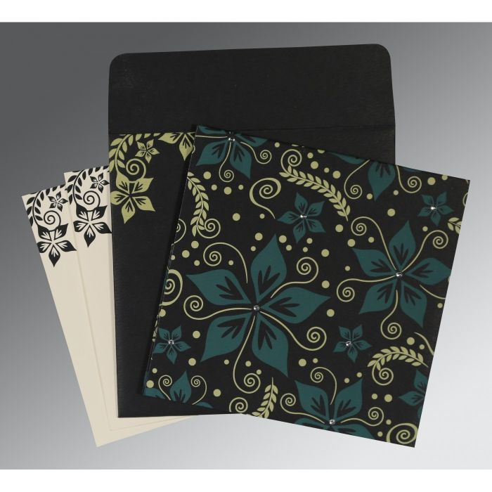 BLACK MATTE FLORAL THEMED - SCREEN PRINTED WEDDING INVITATION : CG-8240A - IndianWeddingCards