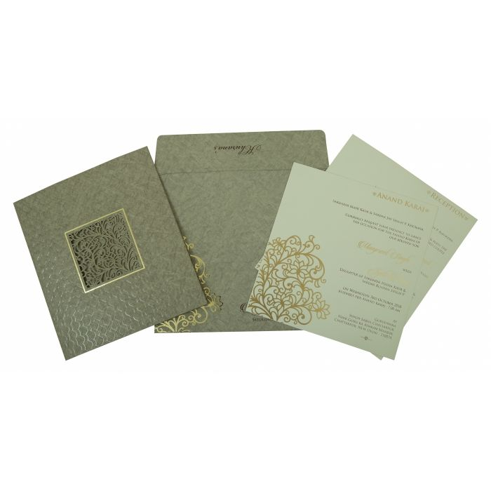 SAGE GREEN MATTE FLORAL THEMED - LASER CUT WEDDING INVITATION : CD-1809 - IndianWeddingCards