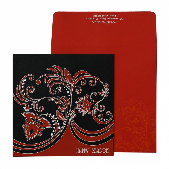 BLACK MATTE PAISLEY THEMED - SCREEN PRINTED HOLIDAY CARDS : CH-873 - IndianWeddingCards