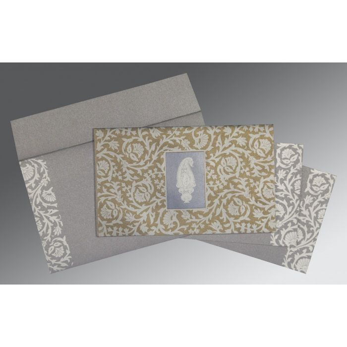 GREY SCREEN PRINTED WEDDING INVITATION : IN-1371 - 123WeddingCards