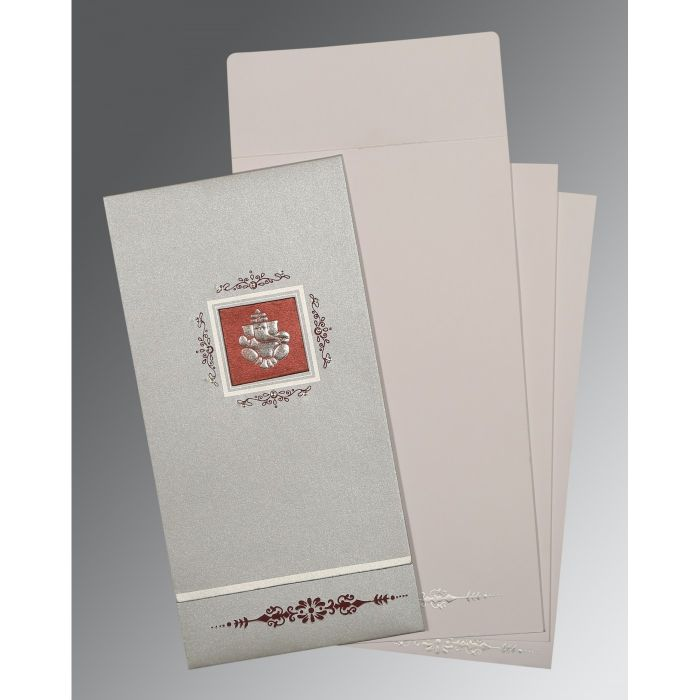 LIGHT GREY SHIMMERY EMBOSSED WEDDING CARD : IN-1427 - 123WeddingCards