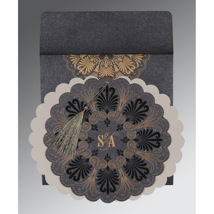 GRAPHITE GREY SHIMMERY FLORAL THEMED - EMBOSSED WEDDING CARD : CSO-8238D - IndianWeddingCards