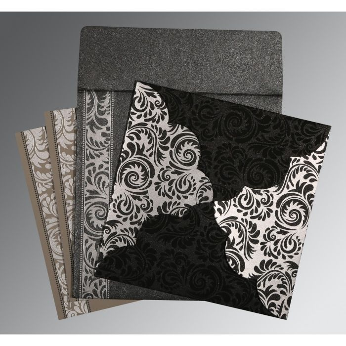 BLACK SHIMMERY FLORAL THEMED - SCREEN PRINTED WEDDING CARD : D-8235I - 123WeddingCards
