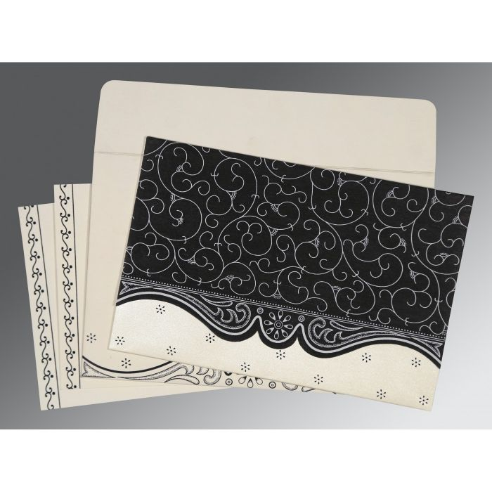 BLACK MATTE EMBOSSED WEDDING INVITATION : CW-8221N - IndianWeddingCards