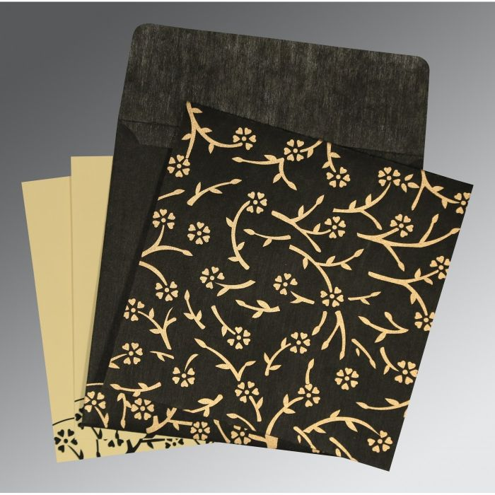 BLACK WOOLY FLORAL THEMED - SCREEN PRINTED WEDDING INVITATION : C-8216K - 123WeddingCards