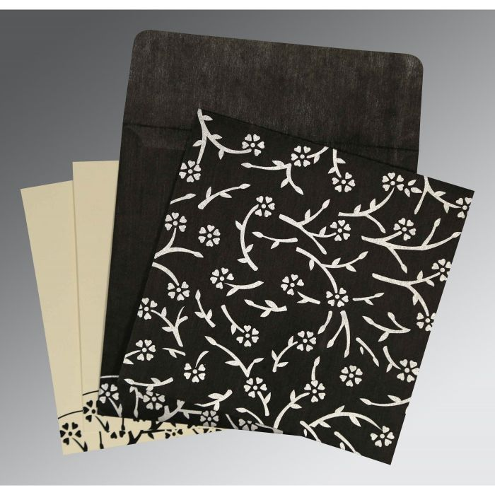 BLACK WOOLY FLORAL THEMED - SCREEN PRINTED WEDDING INVITATION : G-8216N - 123WeddingCards