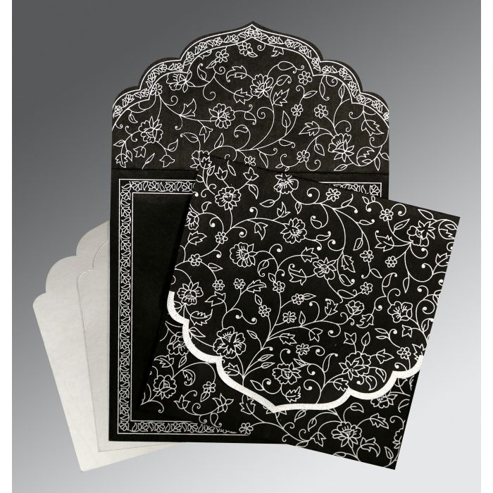 BLACK WOOLY FLORAL THEMED - SCREEN PRINTED WEDDING INVITATION : RU-8211B - 123WeddingCards