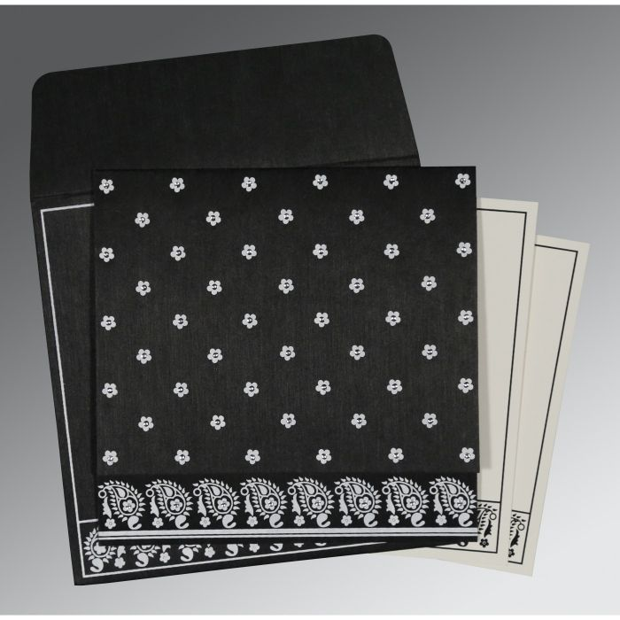 BLACK WOOLY FLORAL THEMED - SCREEN PRINTED WEDDING CARD : RU-8218L - 123WeddingCards