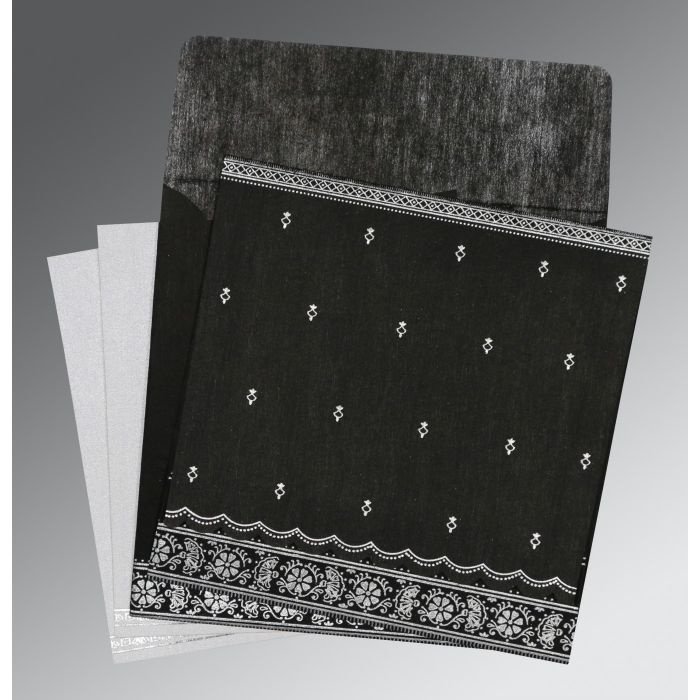 BLACK WOOLY FOIL STAMPED WEDDING CARD : C-8242B - 123WeddingCards