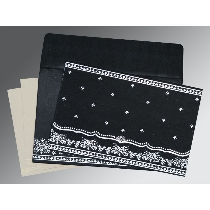BLACK WOOLY FOIL STAMPED WEDDING INVITATION : CSO-8241O - IndianWeddingCards