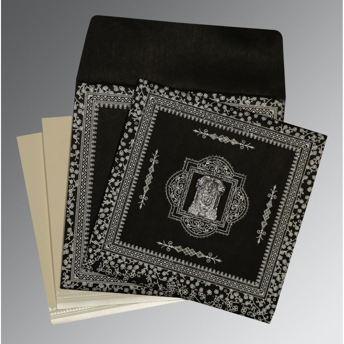 BLACK WOOLY GLITTER WEDDING CARD : CSO-8205L - IndianWeddingCards