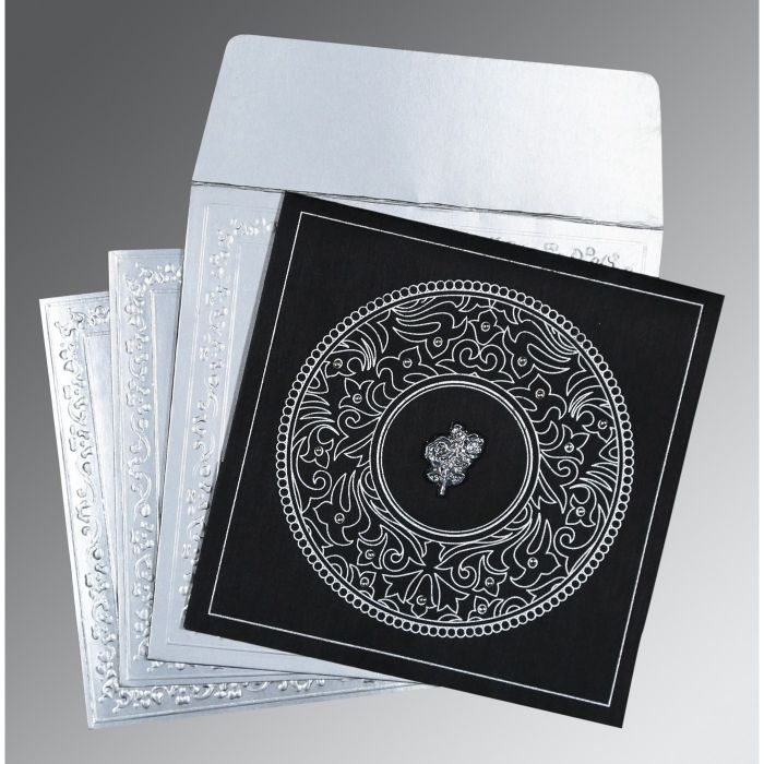 BLACK WOOLY SCREEN PRINTED WEDDING CARD : C-8214N - 123WeddingCards