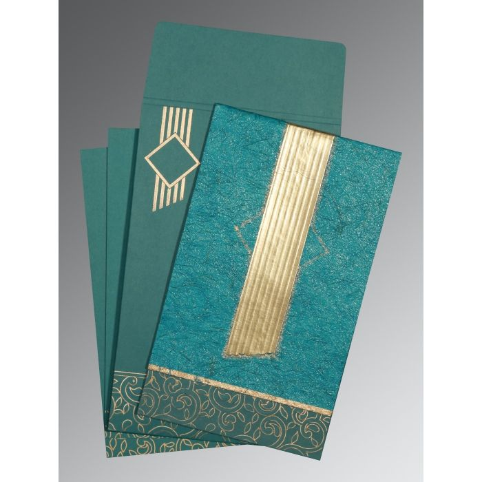 TEAL BLUE MATTE BOX THEMED - EMBOSSED WEDDING INVITATION : CI-1438 - IndianWeddingCards