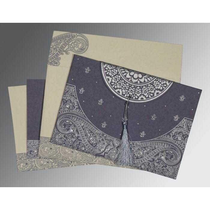 BLUISH GREY HANDMADE COTTON EMBOSSED WEDDING CARD : CG-8234J - IndianWeddingCards