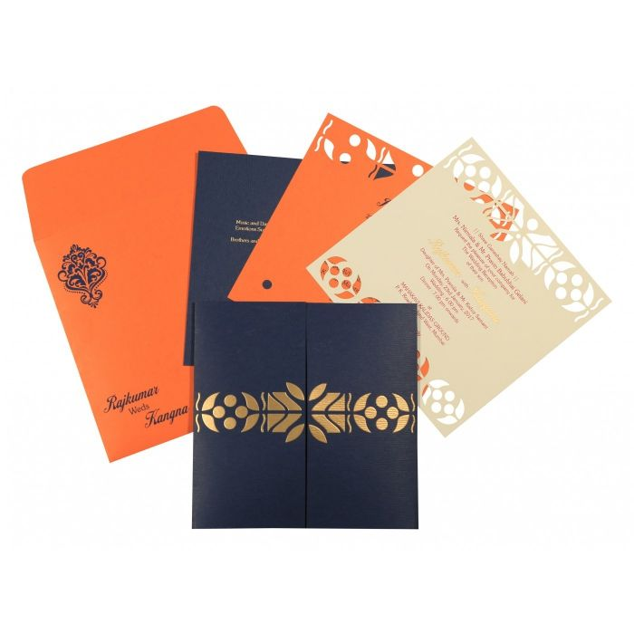DARK BLUE MATTE EMBOSSED WEDDING INVITATION : CSO-8260F - IndianWeddingCards