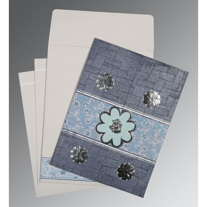 GRAYISH BLUE MATTE FLORAL THEMED - EMBOSSED WEDDING CARD : C-1285 - 123WeddingCards
