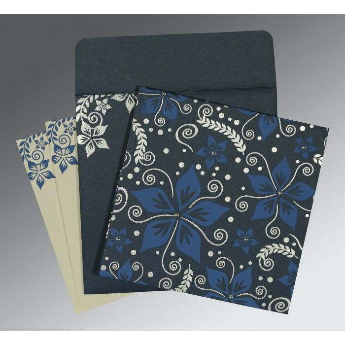 GRAYISH BLUE MATTE FLORAL THEMED - SCREEN PRINTED WEDDING INVITATION : CG-8240C - IndianWeddingCards