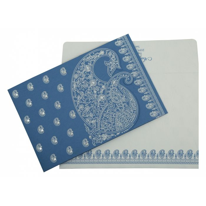 BLUE MATTE PAISLEY THEMED - SCREEN PRINTED WEDDING INVITATION : CI-807D - IndianWeddingCards