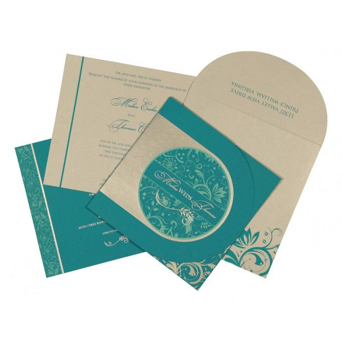 STRONG CYAN MATTE PAISLEY THEMED - SCREEN PRINTED WEDDING CARD : CG-8264G - IndianWeddingCards