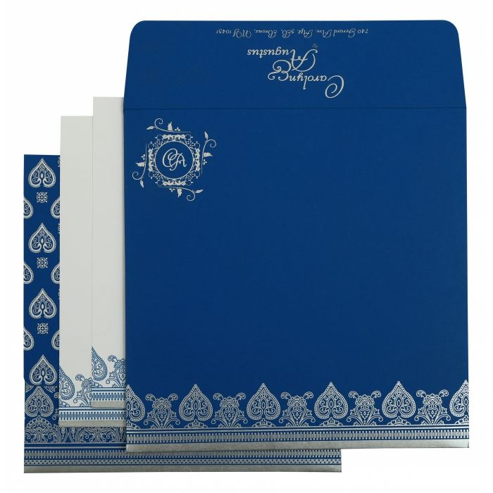 BLUE MATTE SCREEN PRINTED WEDDING INVITATION : CI-809D - IndianWeddingCards