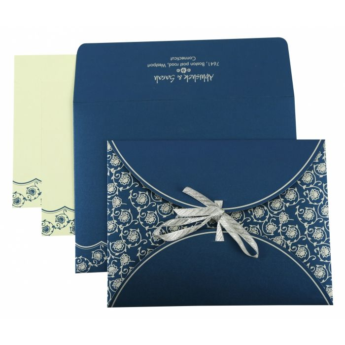 BLUE SHIMMERY BUTTERFLY THEMED - SCREEN PRINTED WEDDING INVITATION : CW-821E - IndianWeddingCards