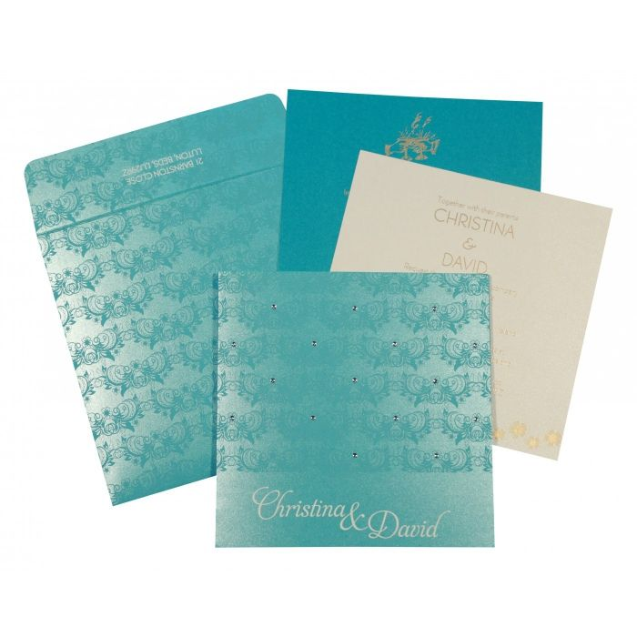 TURQUOISE SHIMMERY BUTTERFLY THEMED - SCREEN PRINTED WEDDING CARD : CW-8258D - IndianWeddingCards
