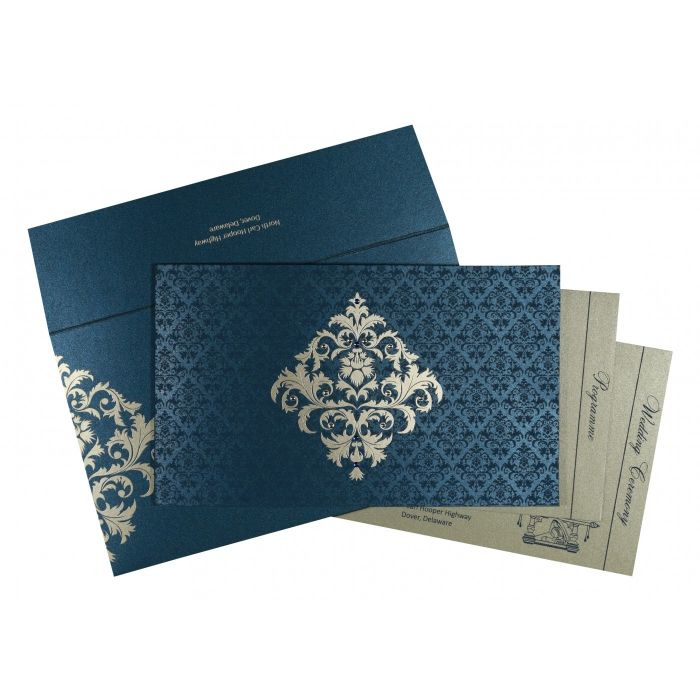 DARK BLUE SHIMMERY DAMASK THEMED - SCREEN PRINTED WEDDING CARD : CG-8257G - IndianWeddingCards