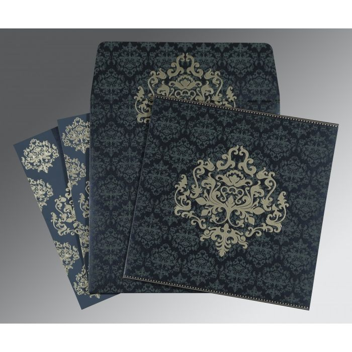 BLUE SHIMMERY DAMASK THEMED - SCREEN PRINTED WEDDING CARD : IN-8254C - 123WeddingCards