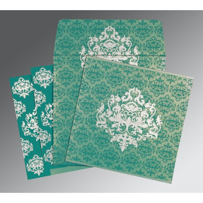TURQUOISE SHIMMERY DAMASK THEMED - SCREEN PRINTED WEDDING CARD : CIN-8254E - IndianWeddingCards