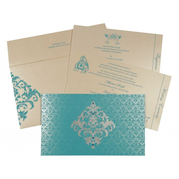 TURQUOISE SHIMMERY DAMASK THEMED - SCREEN PRINTED WEDDING CARD : IN-8257E - 123WeddingCards