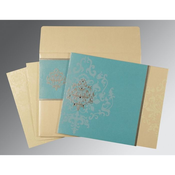 IVORY TURQUOISE SHIMMERY DAMASK THEMED - SCREEN PRINTED WEDDING CARD : S-8253E - 123WeddingCards