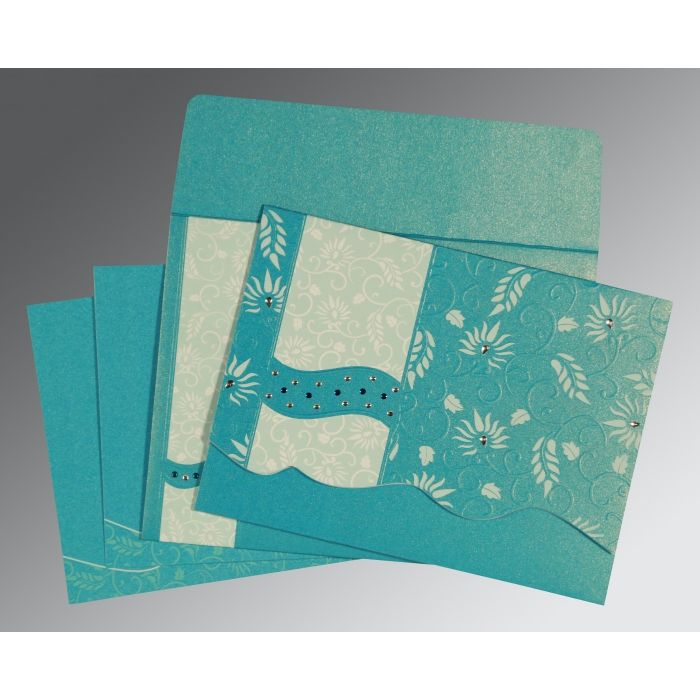 TURQUOISE SHIMMERY FLORAL THEMED - EMBOSSED WEDDING INVITATION : CG-8236J - IndianWeddingCards