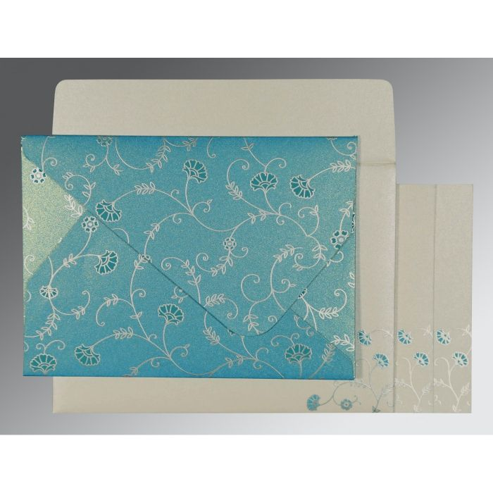 TURQUOISE SHIMMERY FLORAL THEMED - SCREEN PRINTED WEDDING INVITATION : CG-8248F - IndianWeddingCards