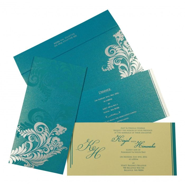 CYAN BLUE SHIMMERY FLORAL THEMED - SCREEN PRINTED WEDDING CARD : I-8259B - 123WeddingCards