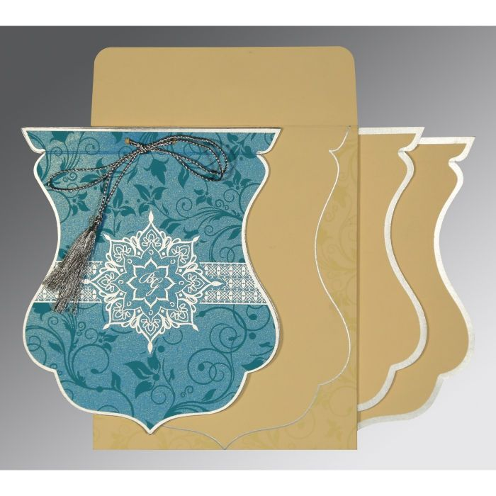 TURQUOISE SHIMMERY FLORAL THEMED - SCREEN PRINTED WEDDING CARD : CIN-8229M - IndianWeddingCards
