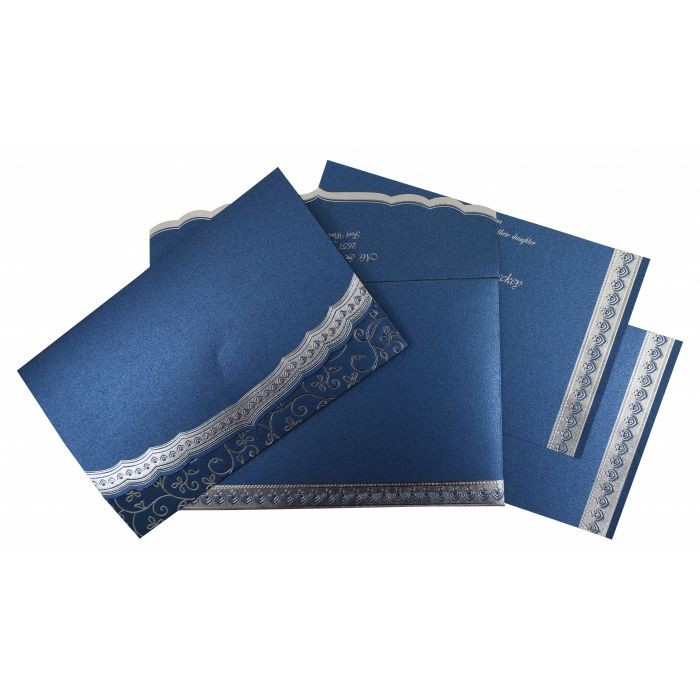 BLUE SHIMMERY FOIL STAMPED WEDDING INVITATION : CI-806B - IndianWeddingCards