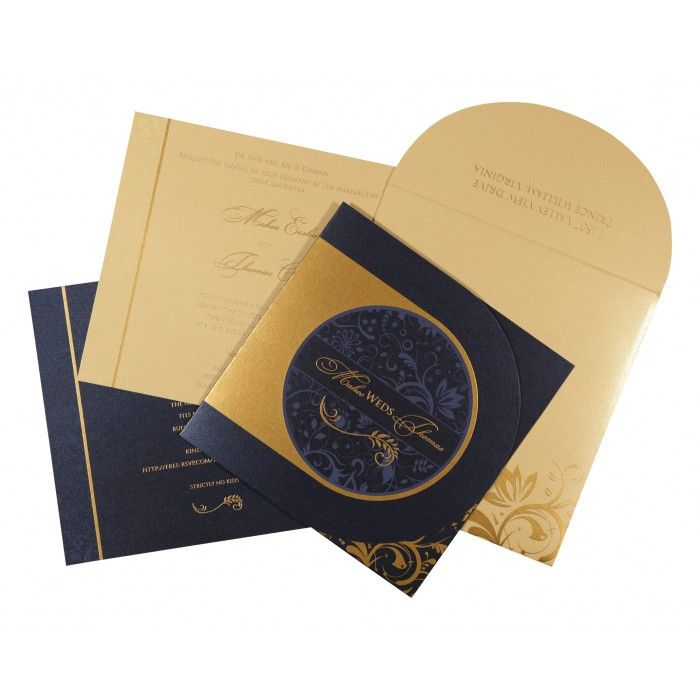 DARK BLUE SHIMMERY PAISLEY THEMED - SCREEN PRINTED WEDDING CARD : CW-8264F - IndianWeddingCards