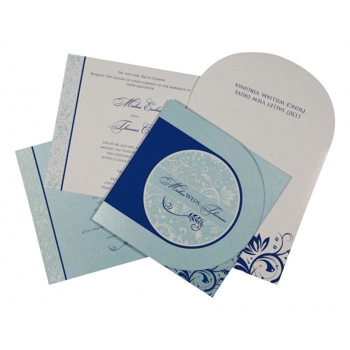 SKY BLUE SHIMMERY PAISLEY THEMED - SCREEN PRINTED WEDDING CARD : CW-8264H - IndianWeddingCards