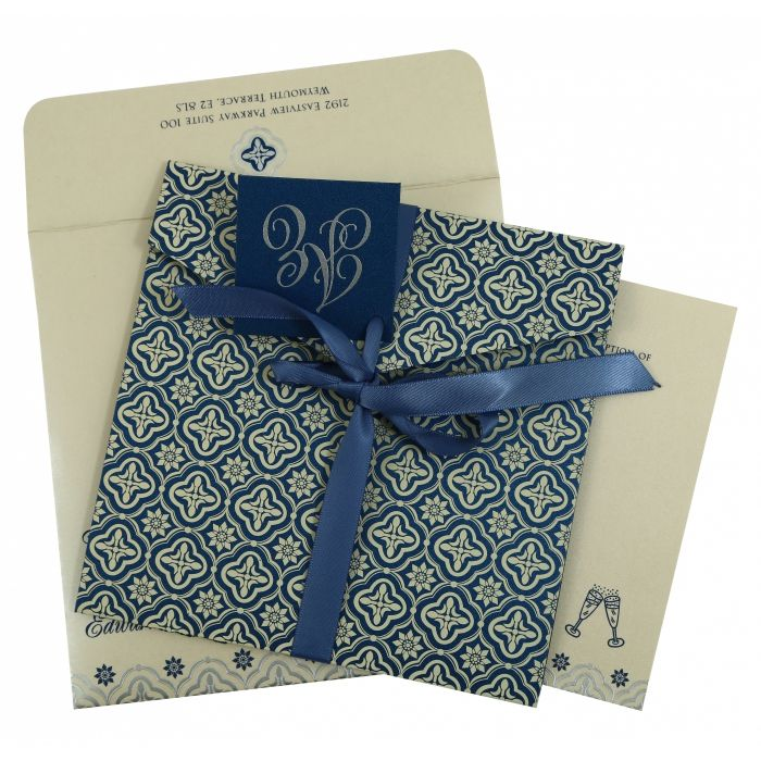 BLUE SHIMMERY SCREEN PRINTED WEDDING INVITATION : S-805D - 123WeddingCards
