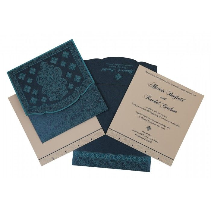 TEAL BLUE SHIMMERY SCREEN PRINTED WEDDING INVITATION : CD-800C - IndianWeddingCards