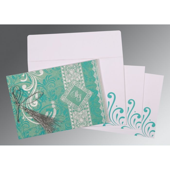 TURQUOISE SHIMMERY SCREEN PRINTED WEDDING CARD : CIN-8223H - IndianWeddingCards