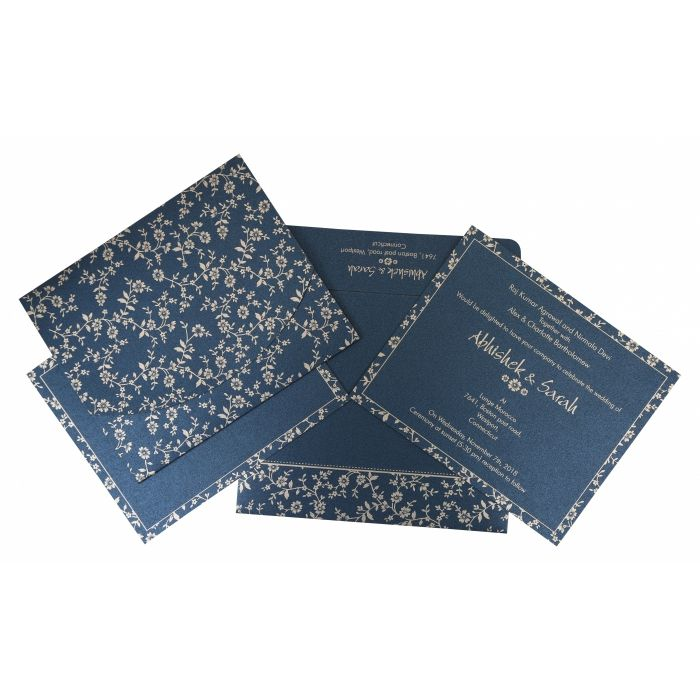 NAVY BLUE SHIMMERY SCREEN PRINTED WEDDING INVITATION : CS-804D - IndianWeddingCards