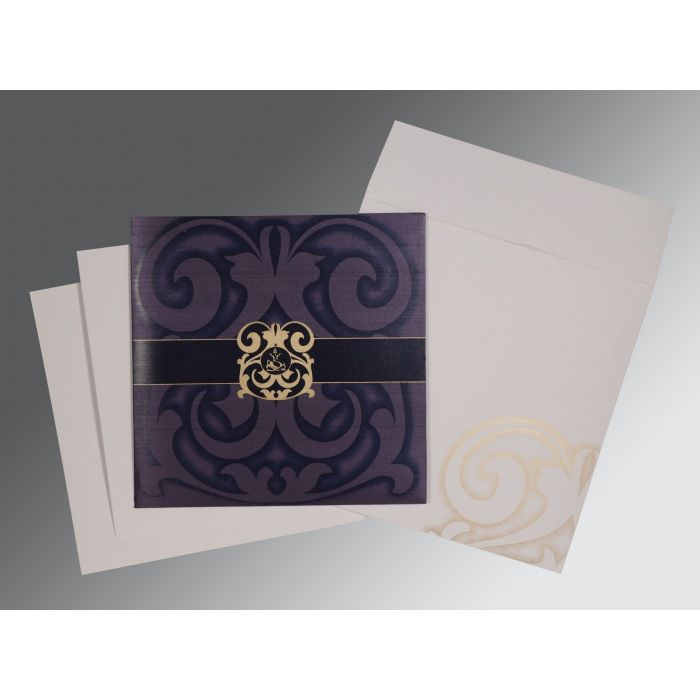 VIOLET SHIMMERY SCREEN PRINTED WEDDING CARD : CW-2278 - IndianWeddingCards