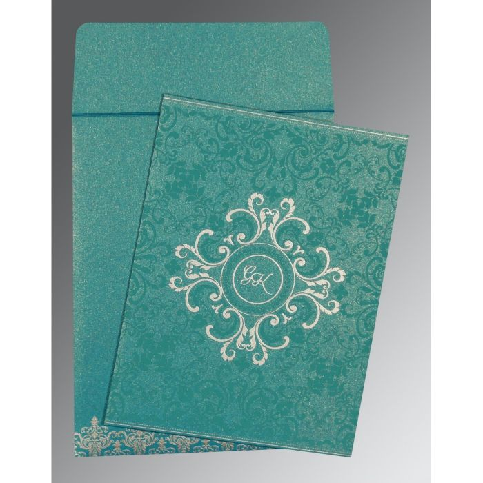 TEAL BLUE SHIMMERY SCREEN PRINTED WEDDING CARD : CW-8244C - IndianWeddingCards