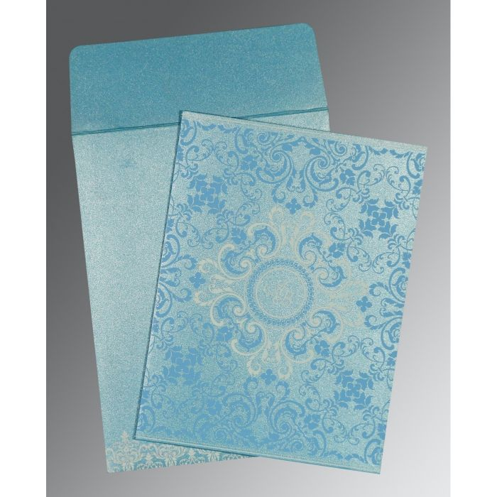 TURQUOISE SHIMMERY SCREEN PRINTED WEDDING CARD : CW-8244F - IndianWeddingCards